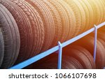 rack with variety of car tires...   Shutterstock . vector #1066107698