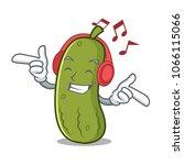 listening music pickle mascot... | Shutterstock .eps vector #1066115066