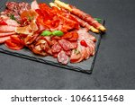 cold meat plate with salami and ... | Shutterstock . vector #1066115468