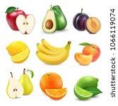 fresh fruits set. 3d realistic... | Shutterstock .eps vector #1066119074