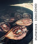Small photo of Smoked fish - vimba. Snapping fish on grill. Vimba bream, zanthe, or zarte, is a European fish species in the Cyprinidae family.