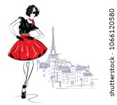 fashion girl in sketch style.... | Shutterstock .eps vector #1066120580
