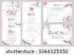set of wedding invitation card... | Shutterstock . vector #1066125350
