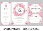 set of wedding invitation card... | Shutterstock . vector #1066125353