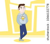 friendly young man in casual... | Shutterstock .eps vector #1066132778