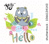 card with cartoon owl in bright ... | Shutterstock .eps vector #1066134143