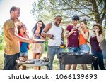 happy multiracial friends... | Shutterstock . vector #1066139693