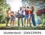 happy multiracial friends... | Shutterstock . vector #1066139696