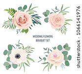 floral bouquet set with rose ... | Shutterstock .eps vector #1066141976