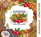 superfood poster with nut ... | Shutterstock .eps vector #1066149368