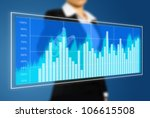 business woman touch virtual chart - stock photo