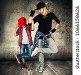 mother and son dance hip hop... | Shutterstock . vector #1066158626