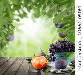 mandarin  figs and grapes... | Shutterstock . vector #1066159094