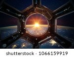earth and galaxy in spaceship... | Shutterstock . vector #1066159919