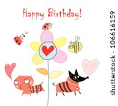 greeting card with funny animals   Shutterstock .eps vector #106616159