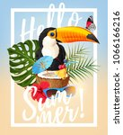 vector summer party card | Shutterstock .eps vector #1066166216