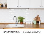 view on white kitchen in... | Shutterstock . vector #1066178690