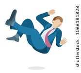 young business man is falling... | Shutterstock .eps vector #1066181828