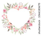 floral wreath heart. elegant... | Shutterstock . vector #1066183670