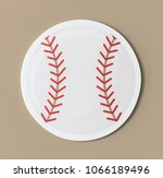 cut out paper baseball graphic | Shutterstock . vector #1066189496