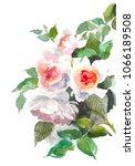 garden roses flower. watercolor ...   Shutterstock . vector #1066189508