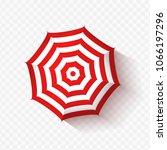 vector beach umbrella on...   Shutterstock .eps vector #1066197296