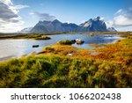 beautiful mountain landscape on ... | Shutterstock . vector #1066202438