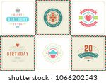 happy birthday greeting cards... | Shutterstock .eps vector #1066202543