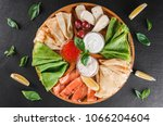 pancakes or crepes with filet... | Shutterstock . vector #1066204604