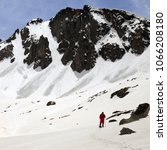 Small photo of Hiker in snowy mountain with trace from avalanches at sun spring day. Turkey, Kachkar Mountains, highest part of Pontic Mountains.