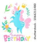 cute vector happy birthday card ... | Shutterstock .eps vector #1066211480