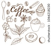set with coffee leasing  cake... | Shutterstock .eps vector #1066218230