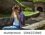 happy tourist is photographing...   Shutterstock . vector #1066221860