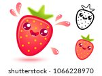vector set icons strawberry in... | Shutterstock .eps vector #1066228970