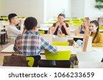 group of teenage students... | Shutterstock . vector #1066233659