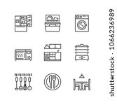 outline icons about kitchen. | Shutterstock .eps vector #1066236989