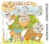 vector illustration on a honey...   Shutterstock .eps vector #1066245623