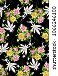 flower pattern black background | Shutterstock . vector #1066246100