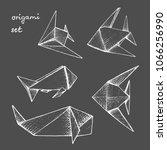 origami   set of 5 white paper... | Shutterstock .eps vector #1066256990