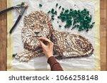 artist working  holding... | Shutterstock . vector #1066258148
