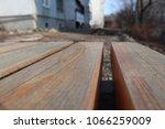 wooden bench closeup. | Shutterstock . vector #1066259009