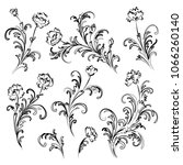 set of baroque style floral... | Shutterstock .eps vector #1066260140