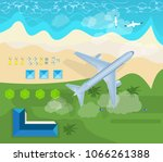 summer travel on airplane in... | Shutterstock .eps vector #1066261388