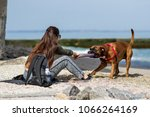 Girl Playing With A Boxer Dog