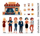 people drinking coffee outdoors ... | Shutterstock .eps vector #1066268639