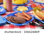 a picnic table with hamburgers  ... | Shutterstock . vector #106626869