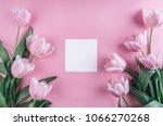 tulips flowers on pink... | Shutterstock . vector #1066270268
