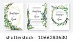 wedding invitation frame set ... | Shutterstock .eps vector #1066283630