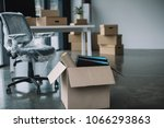 cardboard box with folders and... | Shutterstock . vector #1066293863