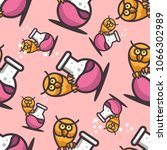 seamless pattern with owl and... | Shutterstock .eps vector #1066302989